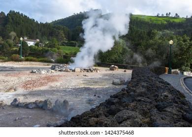 Azores Caldeiras das Furnas, naturally boiling water (hot springs). Geothermal springs, Sao Miguel Island, Azores, Portugal