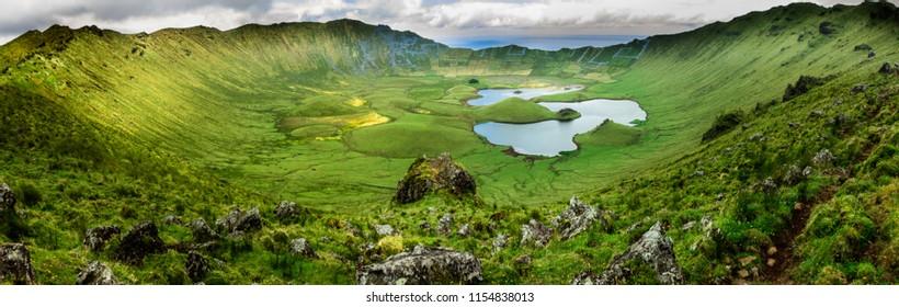 Azores landscape: Corvo island, the Azores, Portugal. Panoramic wide-angle shot of the caldeira (lagoa do caldeirao).