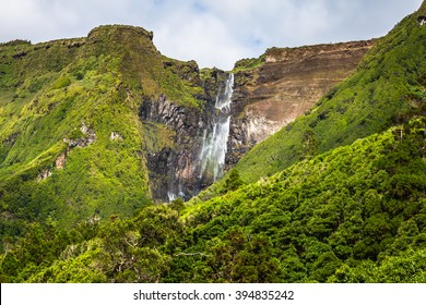 Azores landscape in Flores island. Waterfalls in Pozo da Alagoinha. Portugal