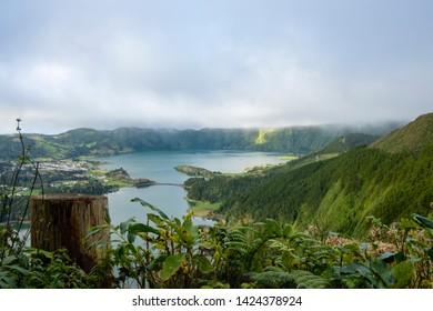 Azores, magical Landscape of Lagoon Sete Cidade (Lagoa das Sete Cidades), Sao Miguel Island, Azores, Portugal, Europe