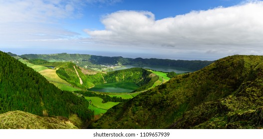 Azores, Portugal. Beautiful panoramic view on Sete Cidades lakes from the mountains on San Miguel Island in the morning