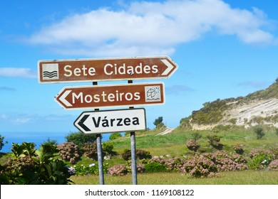 AZORES, PORTUGAL - SEPTEMBER 27, 2016: Direction signs near Sete Cidades on Sao Miguel Island, Azores, Portugal.