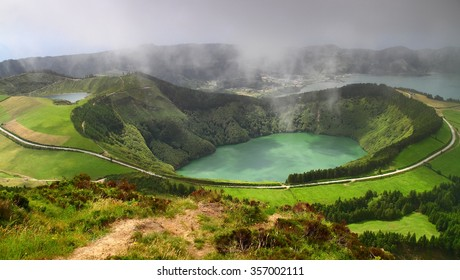 Azores, volcanic lake  in Sao Miguel island