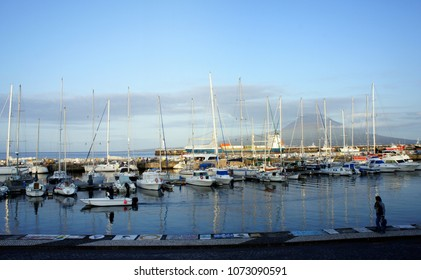 Azores.Evening in the harbor of Horta.