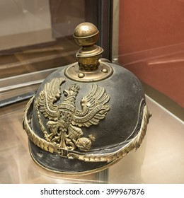 AZOV, RUSSIA- AUGUST 29- Helmet of the First World War. Germany in the museum - reserve on August 29;2015 in Azov