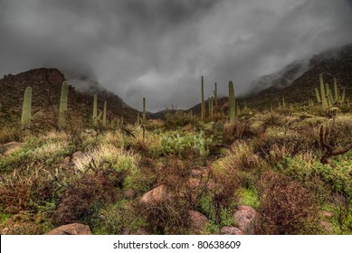 AZ-Superstition Mountain Wilderness- HDR-I was attempting to show the darkness and intensity of the approaching storm as the clouds begin to envelope the mountains.