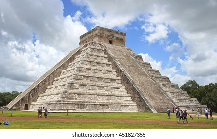 Aztec pyramid with clear sky