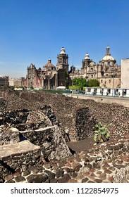 Aztec ruins of Templo Mayor near Zocalo in Mexico City, Mexico.