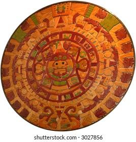 aztec solar calendar isolated on white background