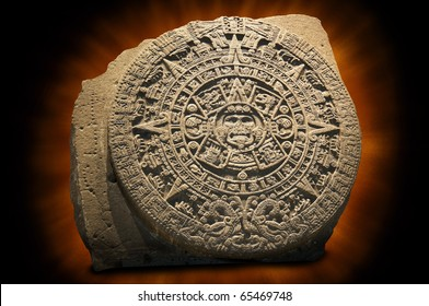 Aztec Sun Calendar.  The Aztec calendar stone is a large monolithic sculpture that was excavated in the Z�³calo, Mexico City's main square, on December 17, 1790