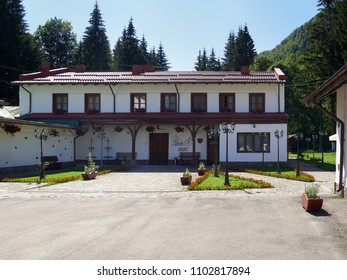 Azuga, Prahova/Romania - 7/19/2017: The Rhein wine cellars in Azuga, Romania are oldest location where the sparkling wine has continuously   been produced over time using the traditional bottle fermen