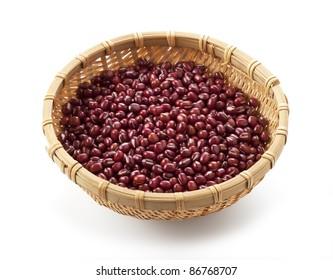 azuki beans on white background