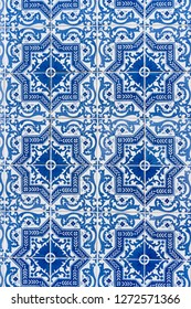 Azulejo, traditional blue-white ornament of houses in Lisbon, Portugal