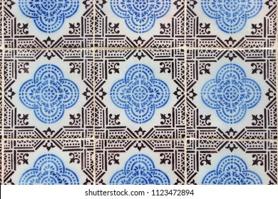 Azulejos - traditional Portugese tiles in Lisbon. Architecture ornament.