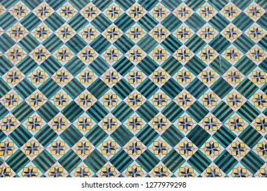 Azulejos - traditional Portugese tiles in Lisbon. Architecture ornament on building exterior.