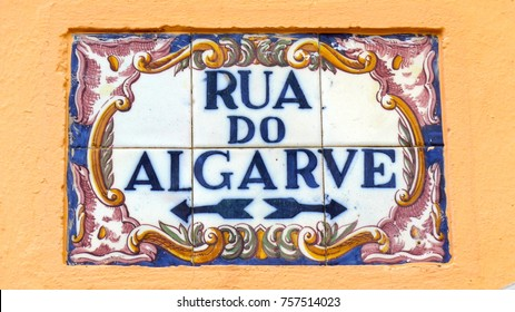 Azulejos, traditional Portuguese tiles with typical vintage pattern, Algarve, Portugal