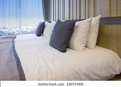 azuma snow-capped mountains view in luxury bedroom hotel, fukushima,  japan