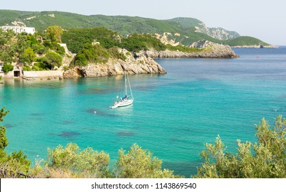 azure bay in Paleokastritsa on Corfu island, Greece