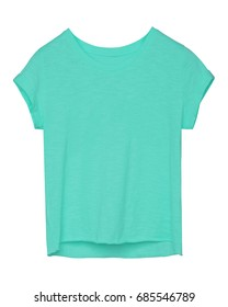 Azure blue empty women tee shirt with torn edges isolated
