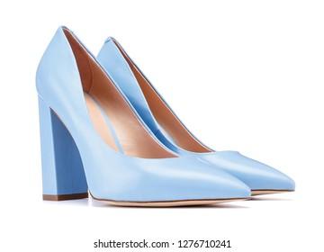 Azure blue patent high heel women heels shoe isolated on white background