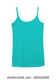 Azure blue underwear sleeveless empty summer t shirt camisole isolated