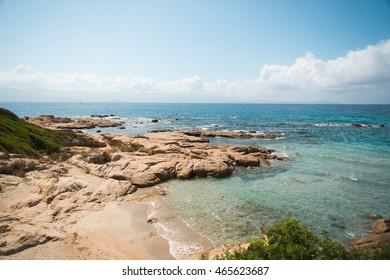 Azure crystal beach in Ajaccio, Corsica