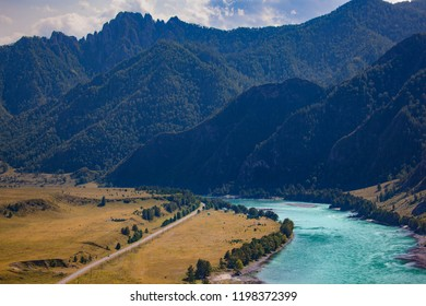 The azure river near mountains