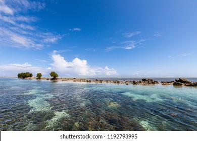 Azure turquoise blue lagoon with corals with a small uninhabited reef island motu full of dangerous rocks and some mangroves trees, under blue sky on a sunny day. Pohnpei island, Micronesia,  Oceania