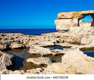 The Azure Window in Gozo island - Mediterranean nature wonder in beautiful Malta