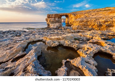 Azure Window in Gozo Malta at Sunset