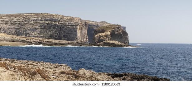 Azure Window Rock formation on the Island of Malta in Europe.