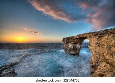 The Azure Window in rough seas in Dwejra, Gozo, Malta.