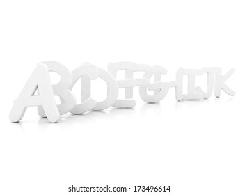 A B C 3d letters on white background