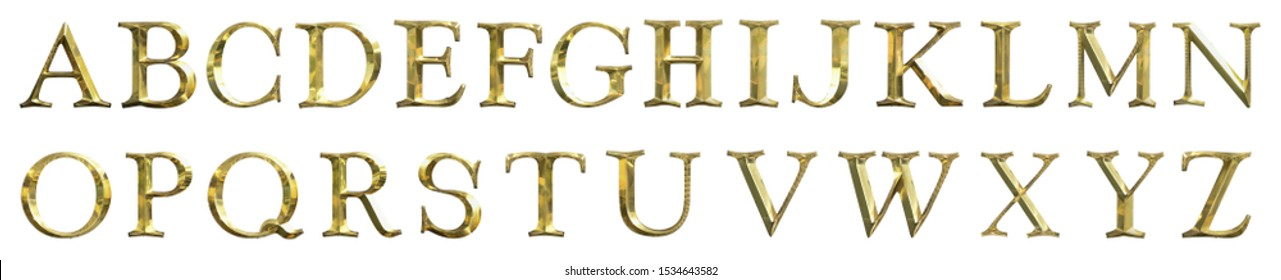 A B C D E F G H I J K L M N O P Q R S T U V W X Y Z text Metal gold platting isolated on white background. This has clipping path.