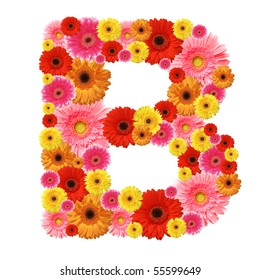 B, flower alphabet isolated on white