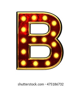 b isolated golden letter with lights on white. 3d illustration