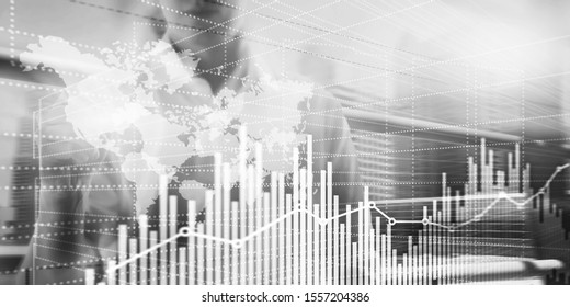 B W Business Finance Chart Graph. Trading Forex Exchange Investment Fintech concept. Mixed media