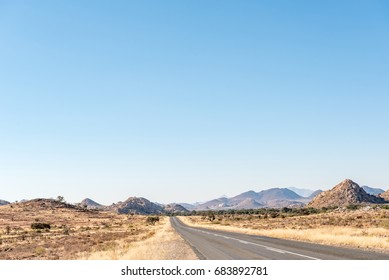 The B1 road between Grunau and Keetmanshoop in the Karas Region of Namibia. The Great Karas Mountains is in the back