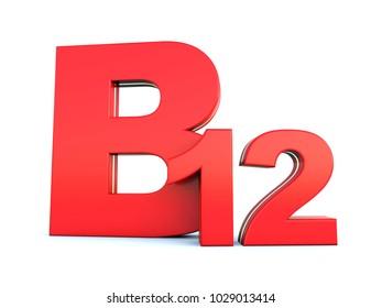 B12 vitamin red symbol on white background 3D render