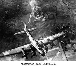 B-17 Bomber during the first big raid on Germany by the U.S. 8th Air Force. The raid destroyed most of the Marienburg Focke-Wulf aircraft factory. World War 2. October 9, 1943