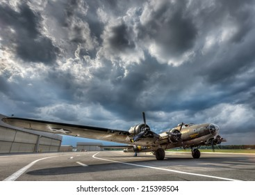 B17 Super Fortress World War 2 Bomber preparing for take off