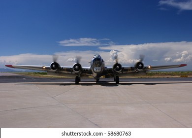 A B-17 taxis in a the Ogden Airport in Ogden, Utah.