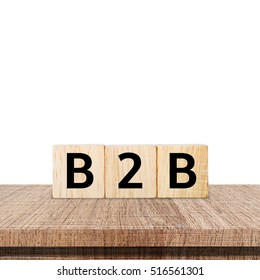 B2B , business to business marketing, on wooden cubes over white background, banner