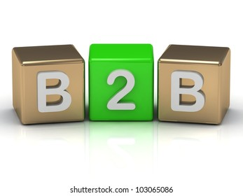 B2B Business to Business symbol on gold and green cubes on white background