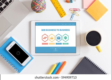 B2B Business To Business Transaction Raw Metarials Business Market Word With Icons