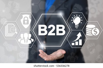 B2B marketing management success web concept. Business to business commerce internet technology