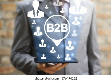 B2B place location marketing web tablet computer people communication concept. Business to business navigation management search success social network internet technology