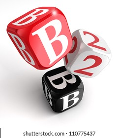 b2b red white black box on white background