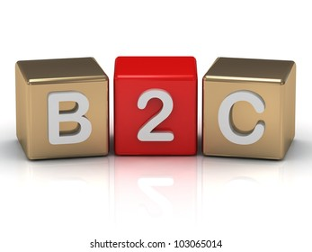 B2C Business to Consumer symbol on gold and red cubes on white background