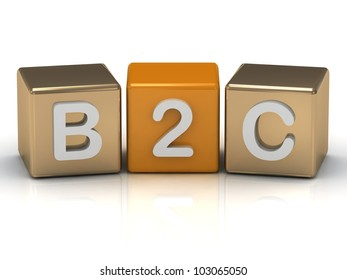 B2C Business to Consumer symbol on gold and orange cubes on white background